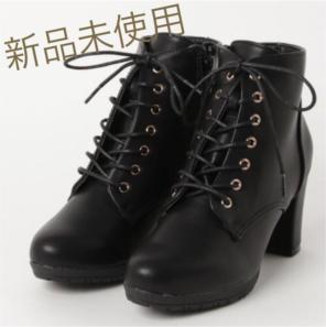 65577626056 【新品】miniaレースアップショートブーツ黒♡23.5-24.0cm